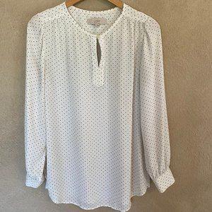{LOFT} White Polka Dot Long Sleeved Blouse Size S
